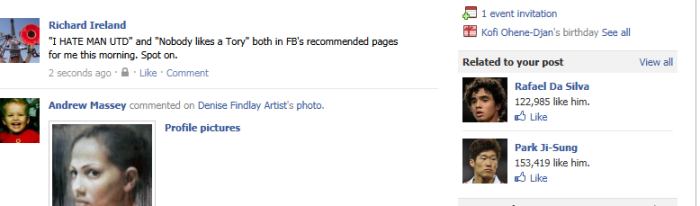Facebook Status, realtime changes to recommendations
